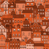 Seamless pattern with old town stock illustration