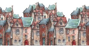 Watercolor attern of an old town vector illustration