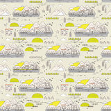 Seamless pattern of old town Royalty Free Stock Photos