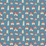 Seamless pattern, old town theme Stock Photo