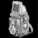 Seamless pattern of old twin lens reflex. On black royalty free illustration