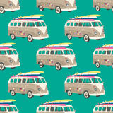 Seamless pattern with old van with surfboard. Retro pattern Stock Images