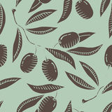Seamless pattern with Olive branch. And olive Stock Image