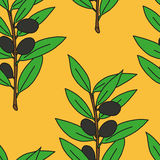 Seamless pattern olive branch. In bright colors Stock Photography