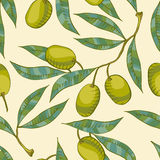 Seamless pattern with Olive branch. And green olive Royalty Free Stock Photos