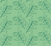 Seamless pattern olive branch. In green colors Royalty Free Stock Photos