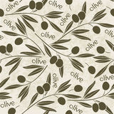 Seamless pattern with olive branch. Hand-drawn floral backgroun Stock Image