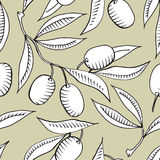 Seamless pattern with Olive branch. And white olive Royalty Free Stock Image