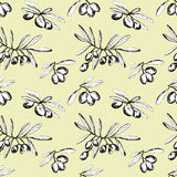 Seamless pattern with olive branches Royalty Free Stock Image