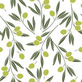 Seamless  pattern with olive branches. Royalty Free Stock Photo