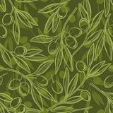 Seamless  pattern with olive branches. Stock Photography
