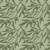 Seamless pattern  olive branches. Retro decorative texture b Stock Photography