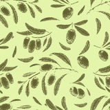 Seamless pattern with olive branches. Retro decorative texture background. Vector Royalty Free Stock Image