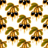 Seamless pattern of olive oil dripping from olives Royalty Free Stock Images