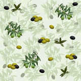 Seamless pattern with olives and branches Royalty Free Stock Photos