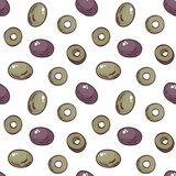 Seamless pattern with olives. Colourful seamless pattern in doodle style with the image of olives. Vector background vector illustration