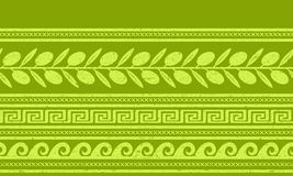 Seamless pattern with olives and greek symbols. Stock Photos