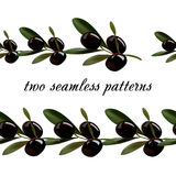 Seamless pattern from olives. Stock Images