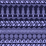 Seamless pattern with olives, wheat, and greek symbols. Stock Images