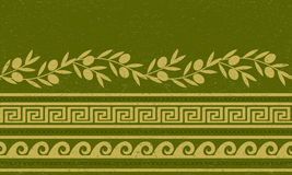 Seamless pattern with olives, wheat, and greek symbols. Stock Photography
