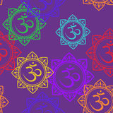Seamless pattern of Om signs Stock Photos