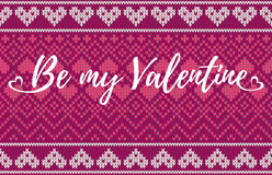 Free Seamless Pattern On The Theme Of Holiday Valentine`s Day With An Image Of The Norwegian And Fairisle Patterns. Inscription Be My V Royalty Free Stock Image - 84304586