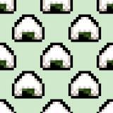 Seamless pattern with onigiri. Pixel art style. Vector illustration.  Stock Photo