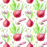 Seamless pattern of a onion,dill,pepper, parsley and garlic. Vegetables and spices.Ingredients for cooking.Watercolor hand drawn illustration.White background Stock Photo