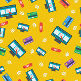 Seamless pattern - online shopping on yellow Stock Photography