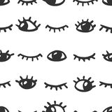 Seamless pattern - open and closed eyes Stock Photography