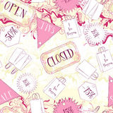 Seamless pattern with open closed signs and fashion accessories Royalty Free Stock Photos