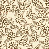 Seamless pattern with openwork flowers and leaf. Seamless pattern with openwork brown flowers and leaf hand drawn Stock Photos