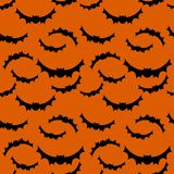 Seamless pattern orange background with black endless bat on halloween festive. Vector illustration Royalty Free Stock Image