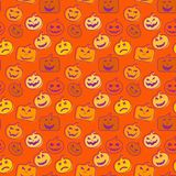 Seamless pattern orange background with halloween festive, endle Stock Images