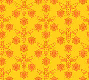 Seamless pattern with orange bees in Monoline style. Royalty Free Stock Image
