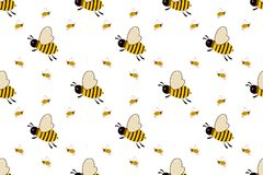 Vector seamless pattern with bees Royalty Free Stock Photos