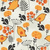 Seamless pattern with orange birds. Royalty Free Stock Photography