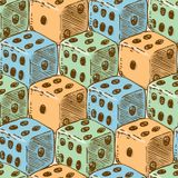 Seamless Pattern with Color Dices. Seamless Pattern with Orange, Blue and Green Dice for Gambling. Hand Drawn Royalty Free Stock Photography