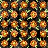 Seamless pattern of orange daisies on a black gray background of harsh figures. Pattern and background are separated Stock Photo