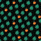 Seamless pattern with orange and exotic leaf stock illustration
