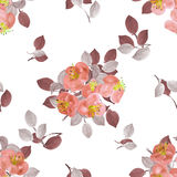 Seamless pattern of orange flowers and gray branches on a white background. Watercolor Royalty Free Stock Photos