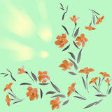 Seamless pattern orange flowers on a green background Stock Photo