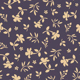 Seamless pattern with orange flowers and leaves on purple. Vector illustration. Stock Photos