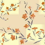 Seamless pattern orange flowers and rectangles on a sand background Stock Photography
