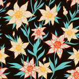 Seamless pattern with orange flowers Royalty Free Stock Photo