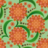 Seamless pattern with orange flowers Royalty Free Stock Photos