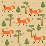 Seamless pattern of orange fox, pine tree and spruce, brown background. Vector Illustration. Summer/Fall Collection. Seamless pattern of orange fox, pine tree Royalty Free Stock Images