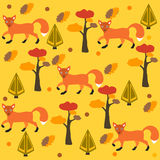 Seamless pattern of orange fox, pine tree and spruce, yellow background. Vector Illustration. Autumn/Fall Collection. Seamless pattern of orange fox, pine tree Royalty Free Stock Image