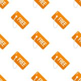 Orange Free Tag Flat Icon Seamless Pattern Stock Photos