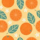 Seamless pattern. Orange juicy fruits leaves and flowers on shabby background. Seamless pattern. Orange juicy fruits leaves and flowers on shabby light orange stock illustration